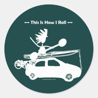 ¡Kajak en el coche - éste es cómo ruedo! Etiquetas Redondas