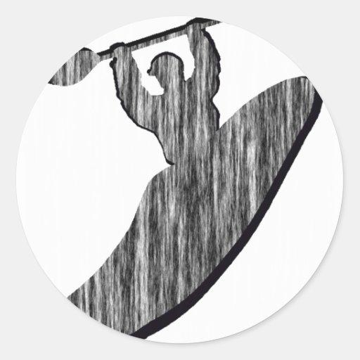 Kajak espaciado hacia fuera pegatina redonda