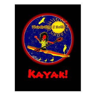 ¡Kajak - éste es cómo ruedo! Postal