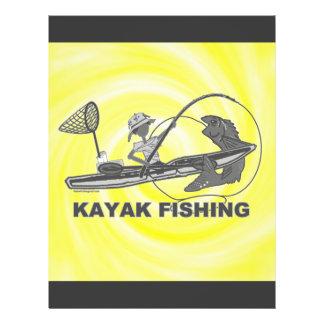 """Kajak que pesca banal negro y blanco folleto 8.5"""" x 11"""""""