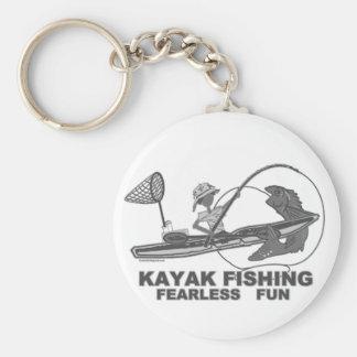 Kajak que pesca banal negro y blanco llaveros personalizados