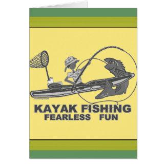 Kajak que pesca banal negro y blanco tarjeta de felicitación