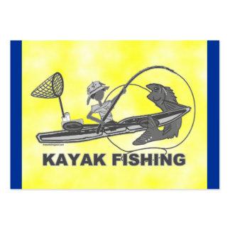 Kajak que pesca banal negro y blanco tarjetas de visita grandes
