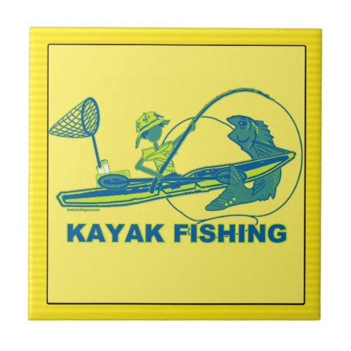Kajak que pesca la silueta del verde azul tejas  cerámicas