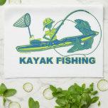 Kajak que pesca la silueta del verde azul toalla de mano