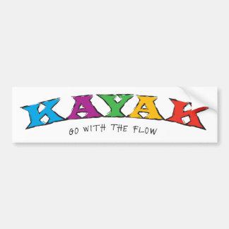 Kajak… Vaya con el pegatina del flujo Etiqueta De Parachoque