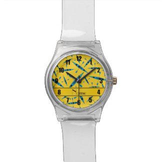 Kajaks amarillos conocidos personalizados relojes de pulsera