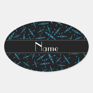 Kajaks negros conocidos personalizados pegatina ovalada