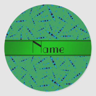 Kajaks verdes conocidos personalizados pegatina redonda