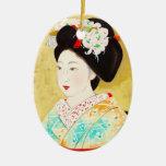 Kajiwara Hisako A Kyoto Maiko geisha fine art Double-Sided Oval Ceramic Christmas Ornament