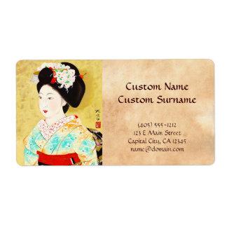 Kajiwara Hisako una bella arte del geisha de Kyoto Etiquetas De Envío