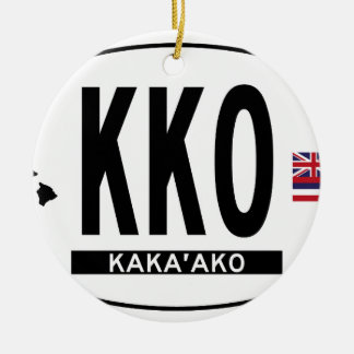 Kakaako-Sticker Double-Sided Ceramic Round Christmas Ornament