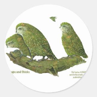 kakapo and chicks classic round sticker