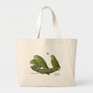 kakapo and chicks large tote bag