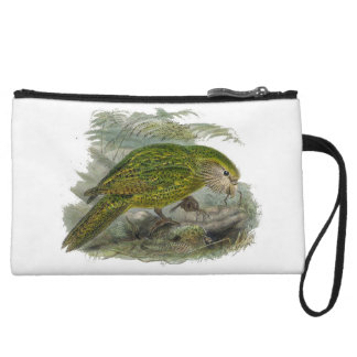 Kakapo Green Parrot Vintage Illustration Wristlet