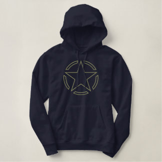 Kaki Star Vintage Khaki Decal Outline Embroidery Embroidered Hoodie