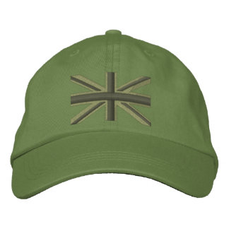 Kaki Union Jack Flag England Swag Embroidery Embroidered Hat