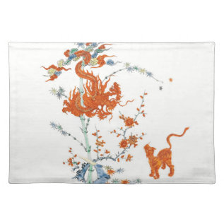Kakiemon Dragon Tiger 1775 Cloth Placemat at Zazzle