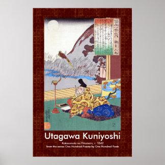 Kakinomoto no Hitomaro Poet by Utagawa Kuniyoshi Poster