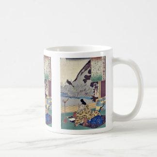 Kakinomoto por Utagawa, Kuniyoshi Ukiyoe Taza De Café