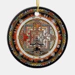 Kalachakra Mandala Double-Sided Ceramic Round Christmas Ornament