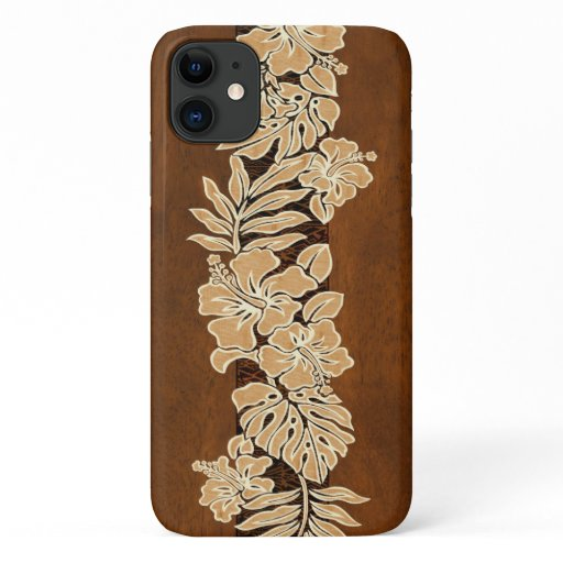 Kalaheo Hawaiian Hibiscus Tapa Faux Koa Wood iPhone 11 Case