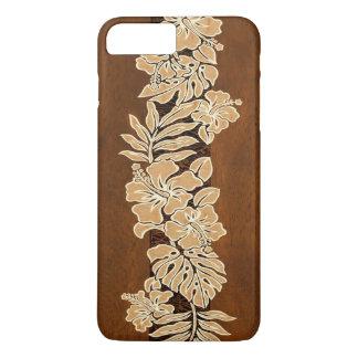Kalaheo Hawaiian Hibiscus Tapa Faux Koa Wood iPhone 7 Plus Case