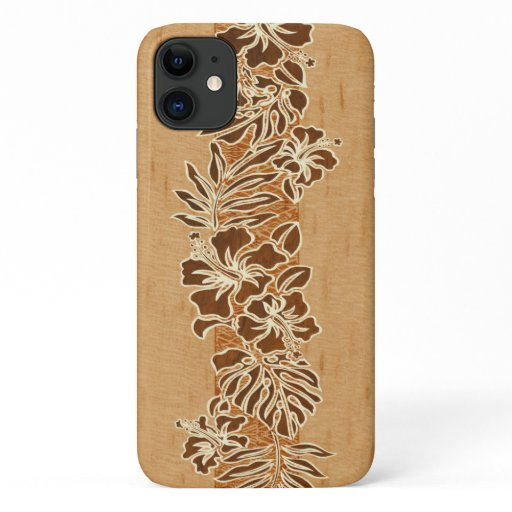 Kalaheo Hawaiian Hibiscus Tapa Faux Wood iPhone 11 Case