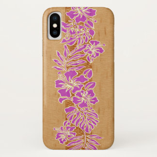 Kalaheo Hawaiian Hibiscus Tapa Faux Wood iPhone X Case