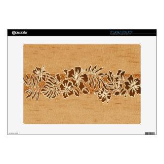 "Kalaheo Hawaiian Hibiscus Tapa FauxWood LaptopSkin 15"" Laptop Skin"