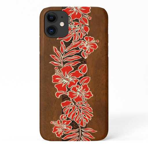 Kalaheo Hawaiian Red Hibiscus Tapa Faux Wood iPhone 11 Case