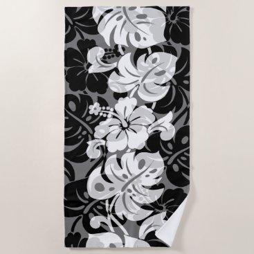 Beach Themed Kalakaua Border Hawaiian Hibiscus - Black Beach Towel