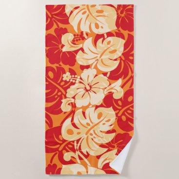 Beach Themed Kalakaua Border Hawaiian Hibiscus - Orange Beach Towel