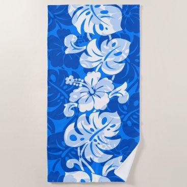 Beach Themed Kalakaua Border Hawaiian Hibiscus - Royal Blue Beach Towel