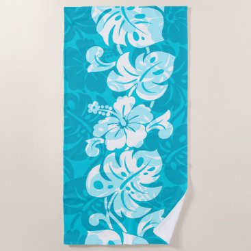 Beach Themed Kalakaua Border Hawaiian Hibiscus - Turquoise Beach Towel