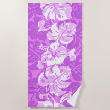 Beach Themed Kalakaua Border Hawaiian Hibiscus - Violet Beach Towel