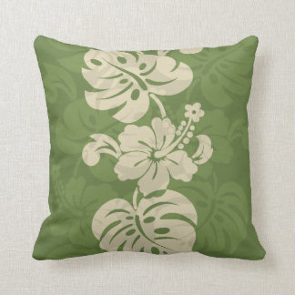 Kalakaua Hawaiian Hibiscus Border KL301 Throw Pillows