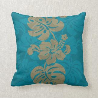 Kalakaua Hawaiian Hibiscus Border KL303 Throw Pillow