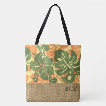Beach Themed Kalakaua Hawaiian Hibiscus Monogram Beach Bag