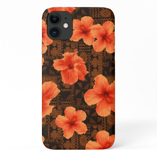 Kalalau Tapa Tropical Hawaiian Orange Hibiscus iPhone 11 Case