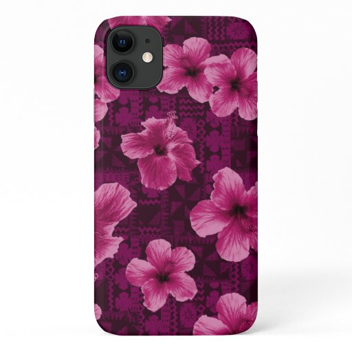 Kalalau Tapa Tropical Hawaiian Pink Hibiscus iPhone 11 Case