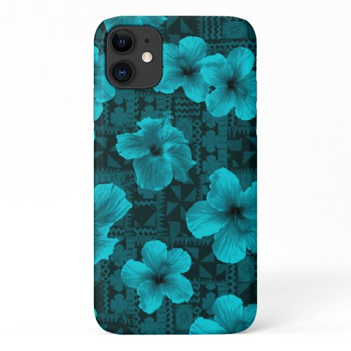 Kalalau Tapa Tropical Hawaiian Teal Hibiscus iPhone 11 Case