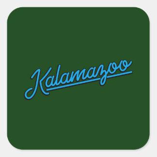 Kalamazoo in cyan square sticker