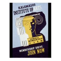 Kalamazoo Institute of Arts  - WPA Poster - Postcard