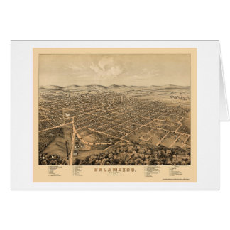 Kalamazoo, MI Panoramic Map - 1874 Card