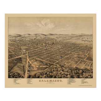 Kalamazoo, MI Panoramic Map - 1874 Poster
