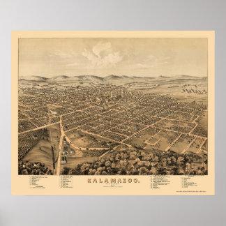 Kalamazoo, MI Panoramic Map - 1874 Print