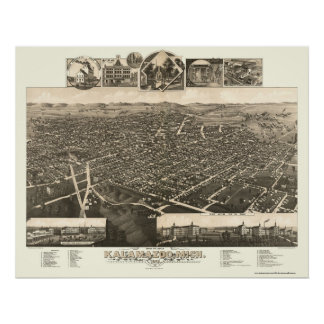 Kalamazoo, MI Panoramic Map - 1883 Poster