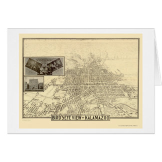Kalamazoo, MI Panoramic Map - 1908 Card