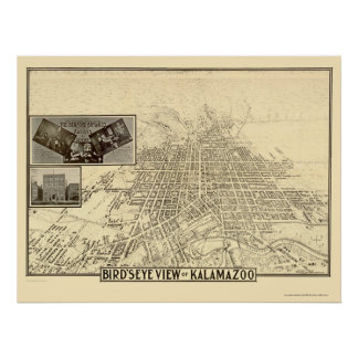 Kalamazoo, MI Panoramic Map - 1908 Poster